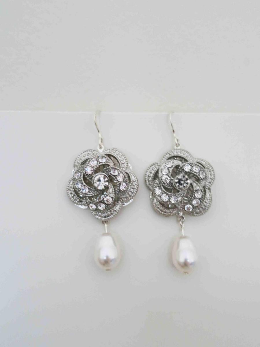 Crystal And Pearl Earrings Swarovski Wedding Jewelry Drop Bridal Vintage Style Bridesmaid Jody Rose Flower Sterling 30 00 Usd