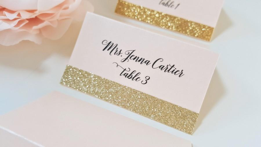 Gold Glitter Wedding Place Cards Blush And Card Seating Name Placecards Free Shipping