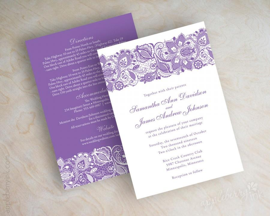 Ideal Lavender, Lace Wedding Invitations, Purple Lace Wedding Invitation  QG41