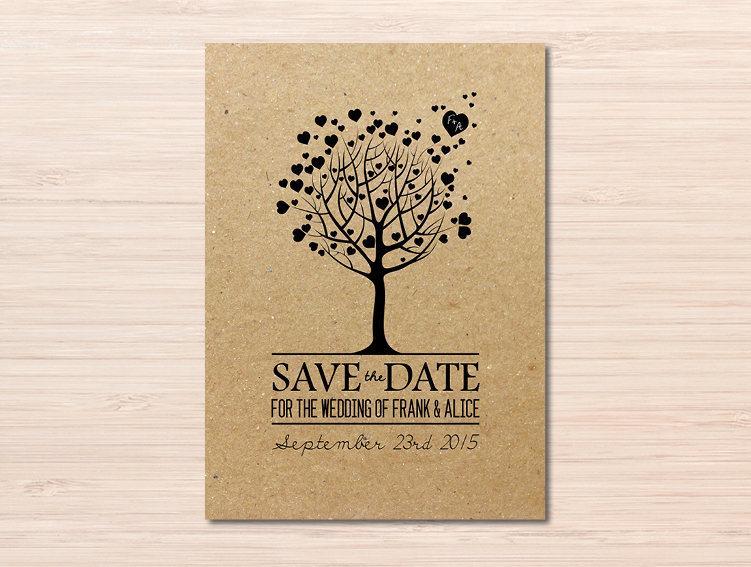 Love Tree Rustic Save The Date Wedding Heart Cards Kraft Paper Invitations Invitation