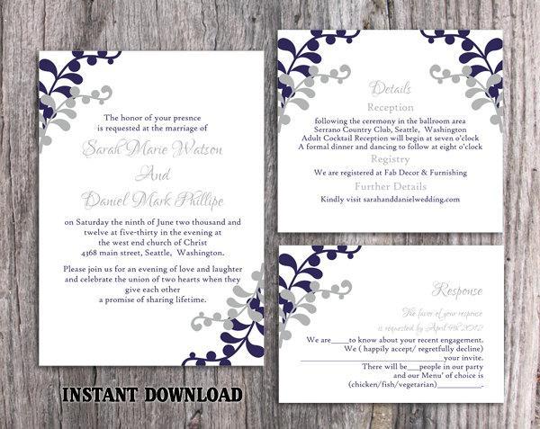 Wedding Invitation Template Printable Invitations Editable Leaf Navy Blue Silver Gray 15 90 Usd