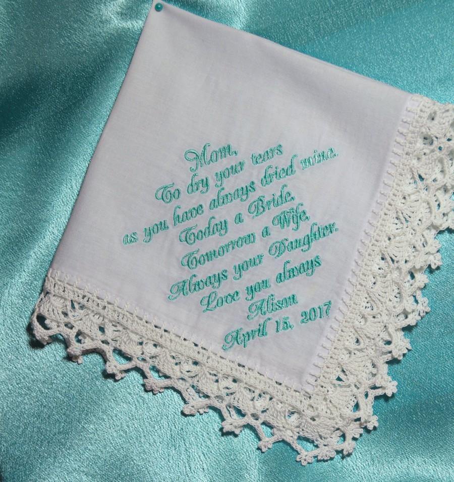 Wedding Gift For Mom From Daughter Handkerchief Mother Of The Bride Personalized Hankie Custom Hanky 18 01 Usd