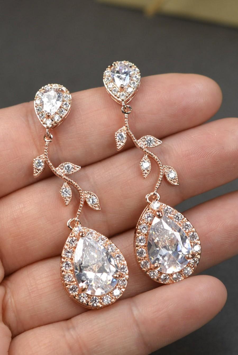 Rose Gold Crystal Bridal Earrings Wedding Jewelry Set Wedding Bridal Jewelry Chandelier Dangle ...