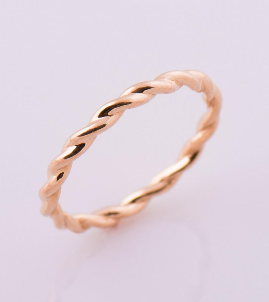 Braided Wedding Ring 14k 18k Solid Gold Rose Band Rope Stcking Twisted