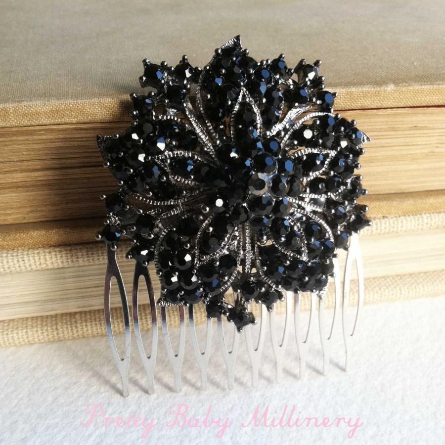 black hair accessories, vintage hair comb, black bridal headpiece
