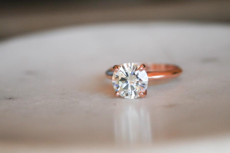 Round Moissanite Solitaire Engagement Ring, Rose Gold Ring, Wedding Ring,  Engagement Ring, Moissanite, Forever One Moissanite #2699930 - Weddbook
