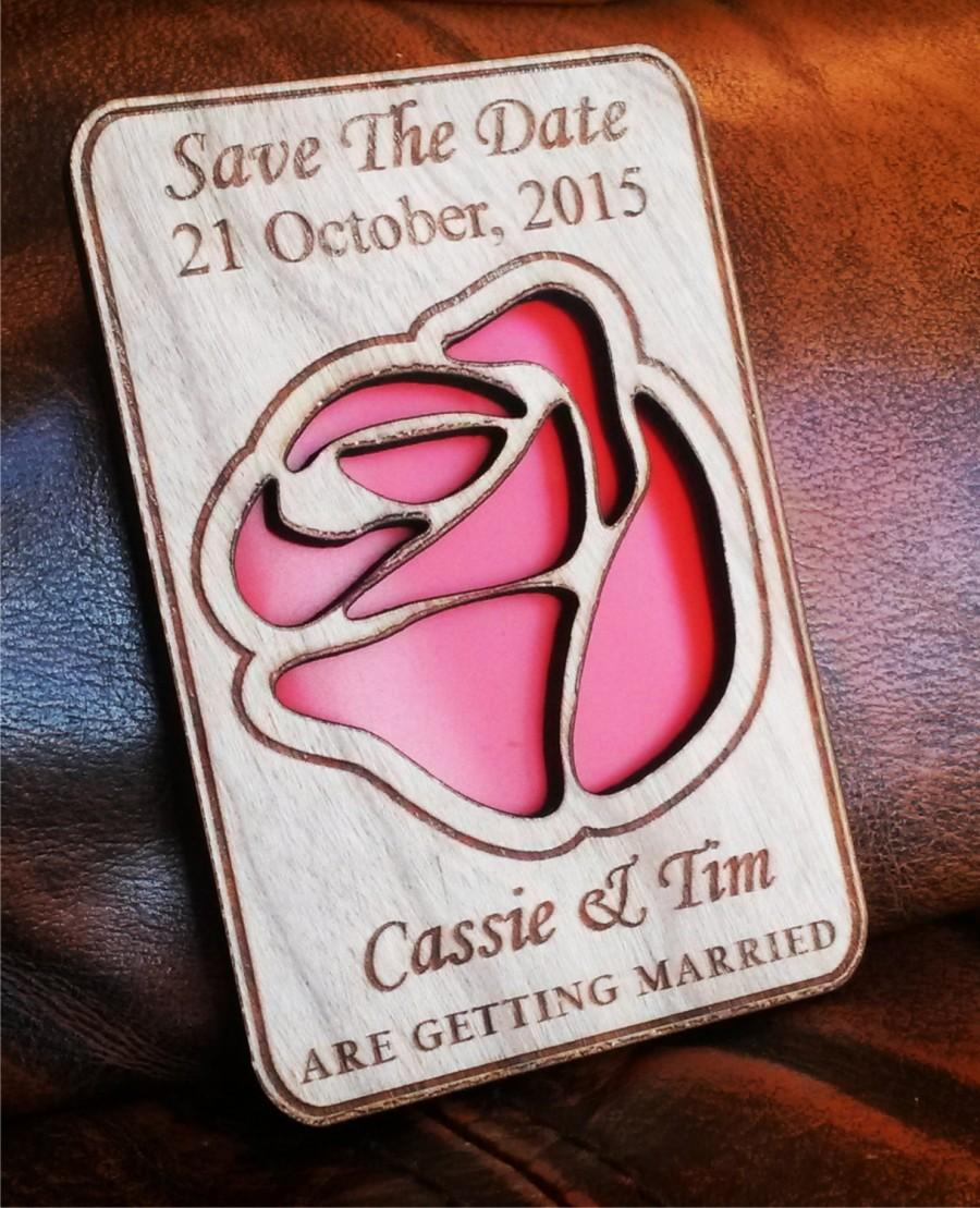 Wood Save The Date Magnets 50 Personalized Wedding Rustic Custom Magnet Red Rose