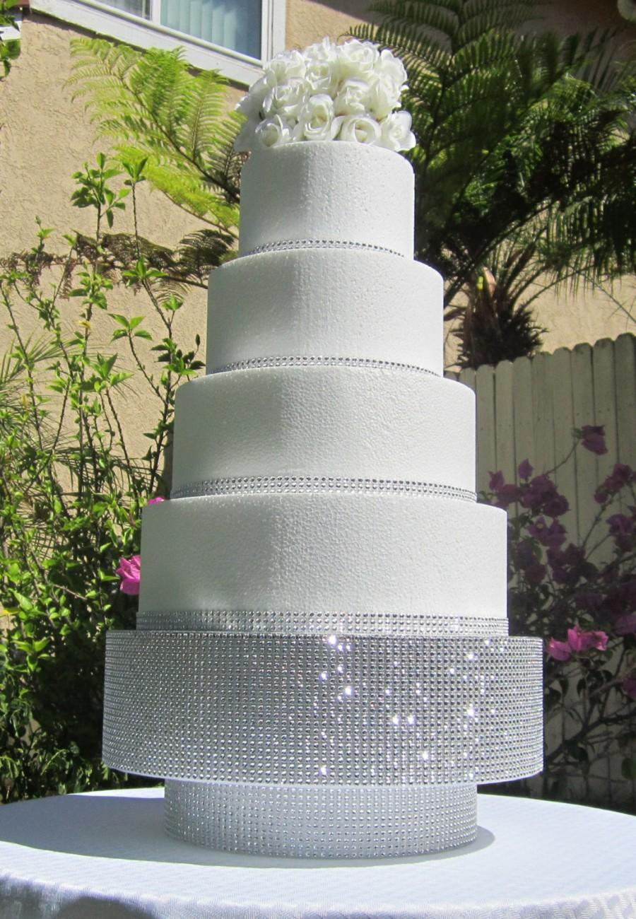 12 Round Square Wedding Cake Stand Pedestal Riser Platform Sparkly Bling Rhinestone Mesh Foil Board Top 6 Tall Styrofoam Colors