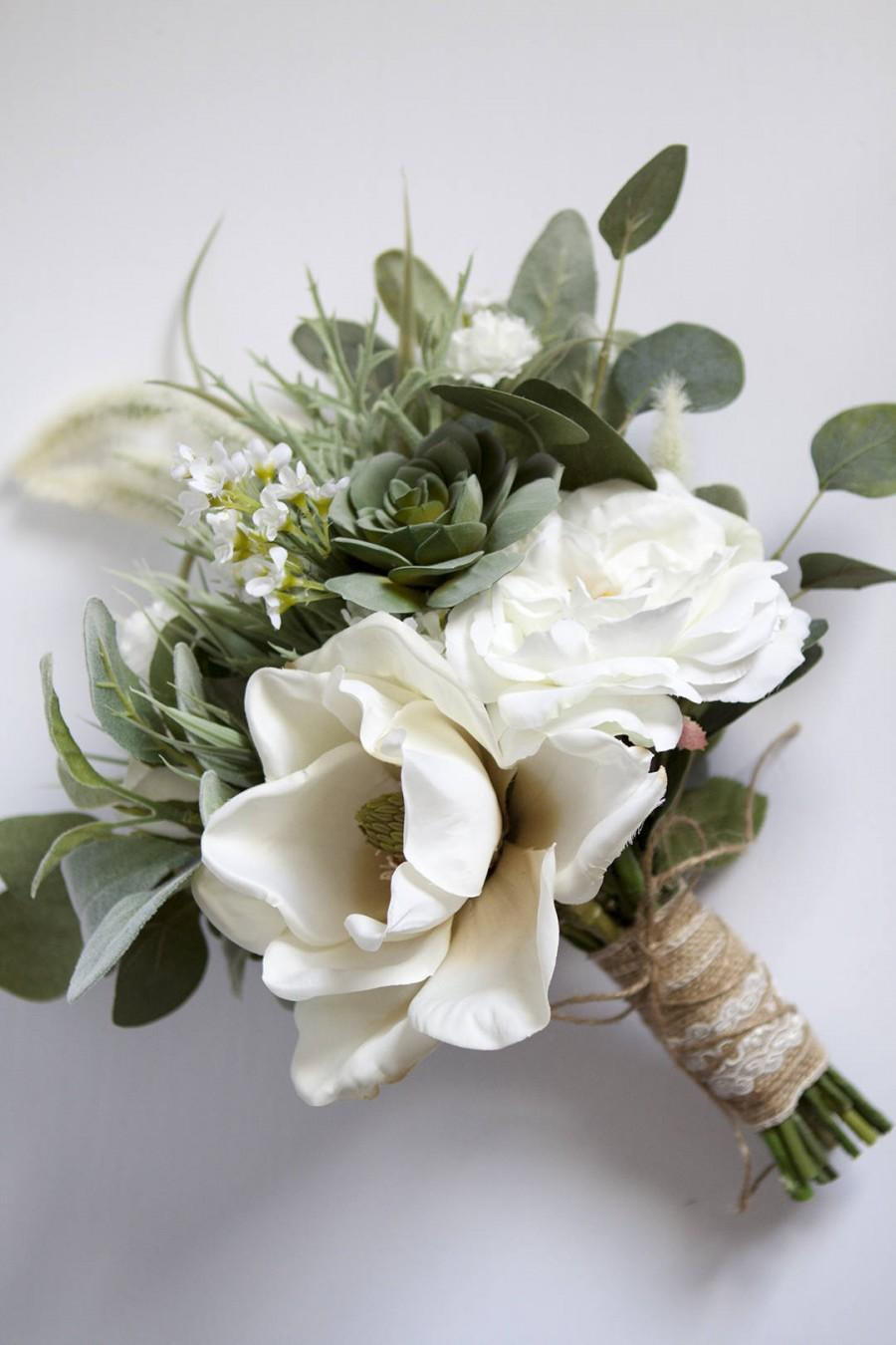 White Wedding Bouquet Greenery Succulent Bridal Silk Flower Flowers Wildflower