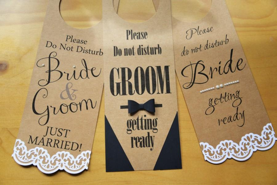 Unique Set Of 3 DND Wedding Door Hangers Bride, Groom & Just Married  QX55