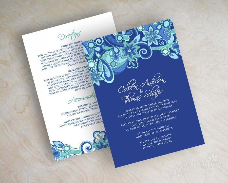 Paisley Wedding Invitation Invite Stationery Royal Blue Aqua Teal Xenia