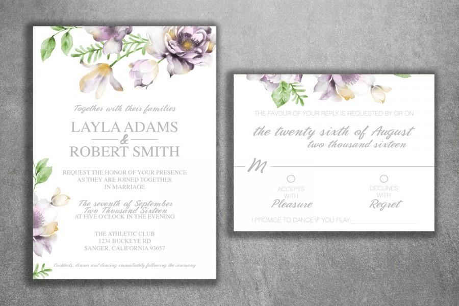 Fl Wedding Invitation Printed Set Succulent Blush Pink Gray Ivory Invite Flowers