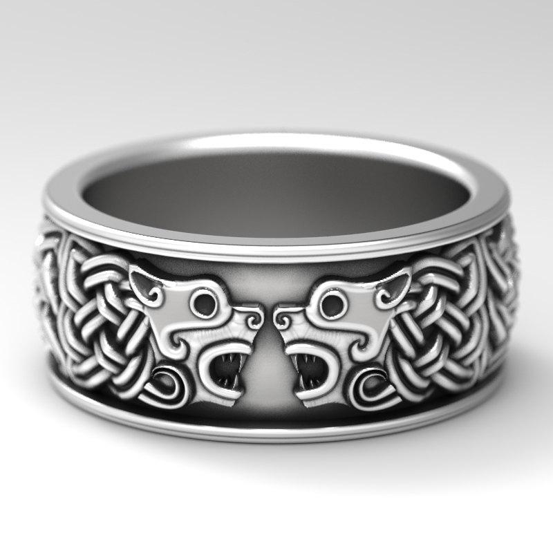 Celtic Hound Ring Dog Wedding Band Jewelry Made Sterling Silver Wolf 1102