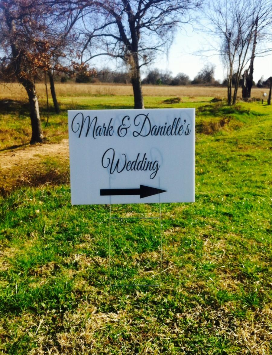 Wedding Yard Sign Directional Corrugated Plastic Signs Personalized 18x24