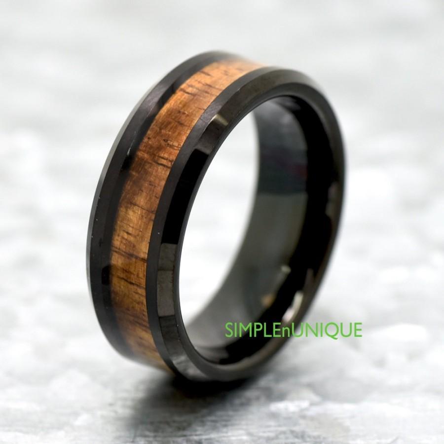 Unique Tungsten Wedding Band Hawaiian Koa Wood Inlay Ring Black Mens Promise For Him