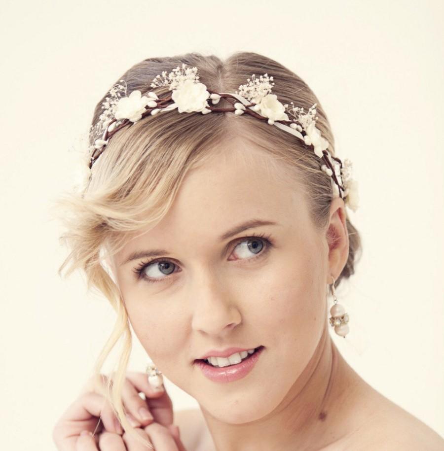 white flower crown, wedding flower crown, wedding hair piece