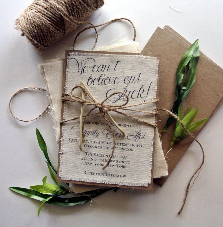 Rustic Wedding Invitation Lucky Wishbone Ideas Burlap Invitations Boho