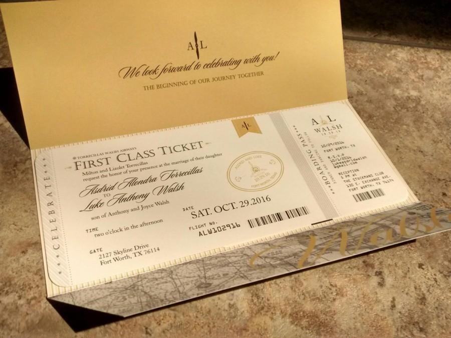 Aviation Airplane Travel Themed Wedding Invitation