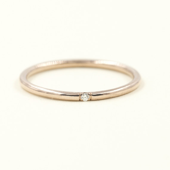 Diamond Rose Gold Wedding Band 1 3mm Ring Simple Dainty Thin 14k Solid Minimalist Stackable