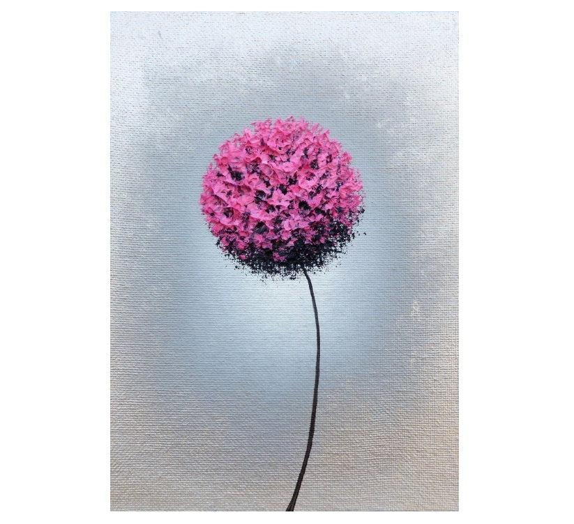 Pink Flower Art Print Abstract And Silver Metallic Wall Dandelion Mid Century Mod Home Decor 9x12 18x24
