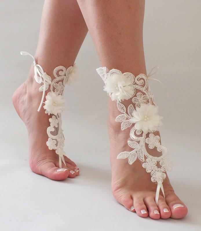 6694da1ca Unique Ivory Lace Barefoot Sandals Wedding Shoes Beach