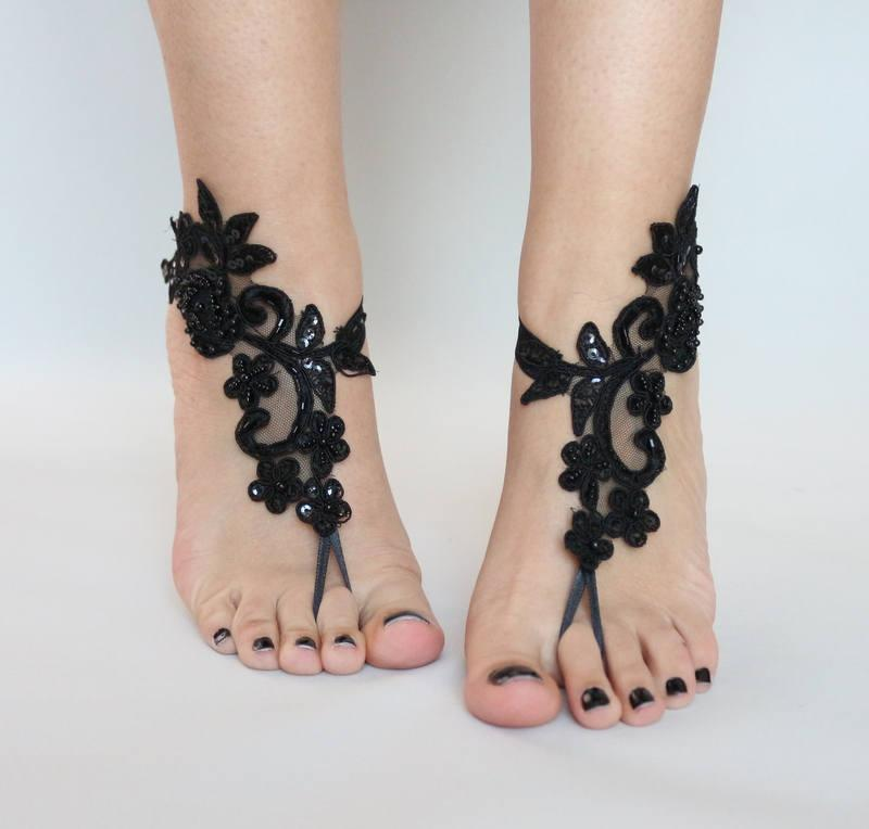 Black Lace Sandals For Wedding Foot Jewelry Bridal Sandal Embroidered Anklet Sandles Beach Gothic 25 90 Usd