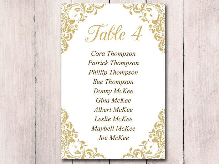 Gold Wedding Seating Card Template Table Chart Jenna Printable Instant 4x6 Cut