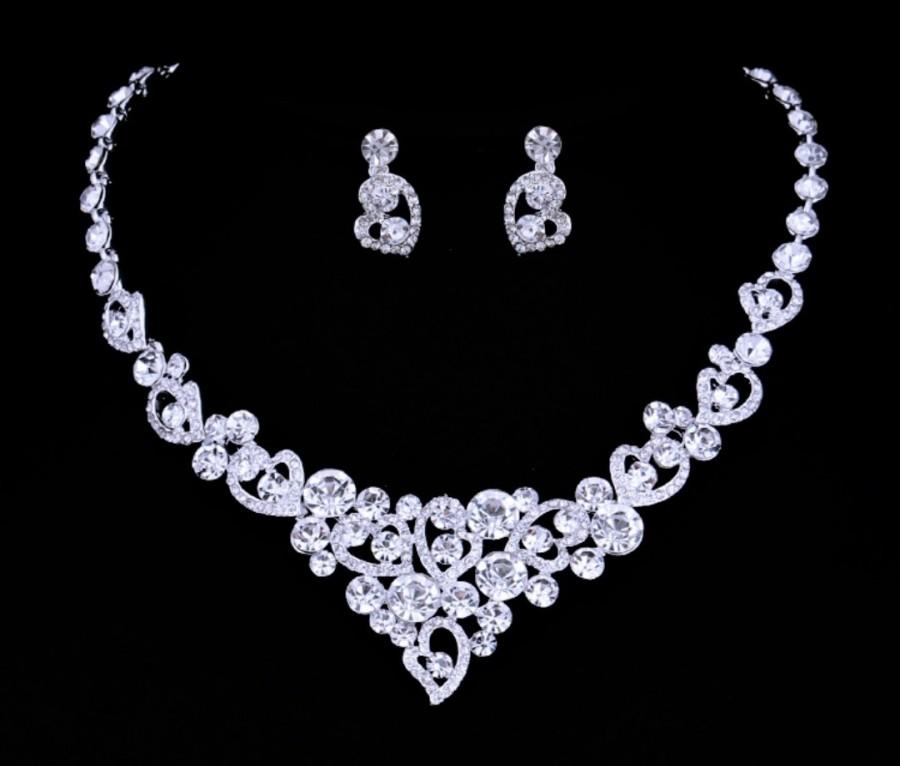 Silver Wedding Necklace And Earrings Bridesmaid Jewelry Set Bridal