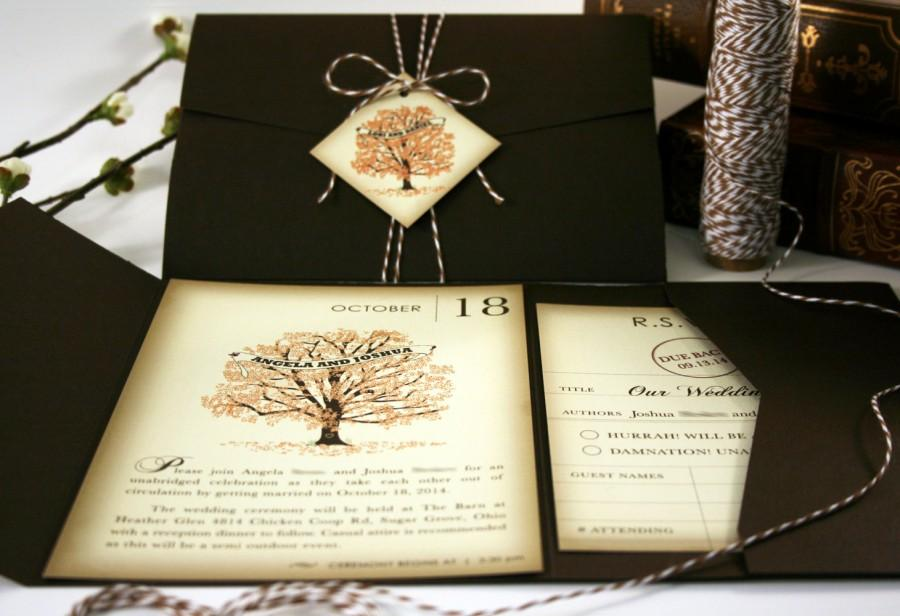 Book Fall Wedding Invitation Sample Pocketfold Tag Twine Invitations Rustic Vintage Invites