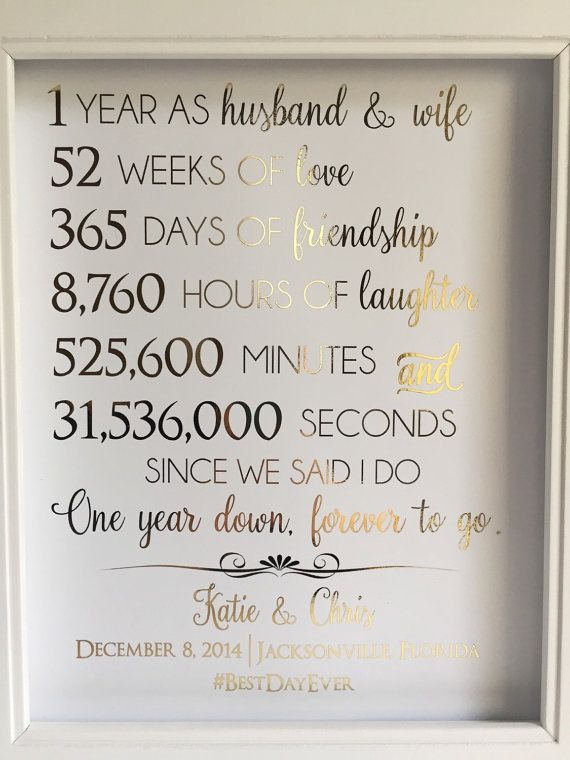 Gold Foil Print First 1st Anniversary Gift For Husband Or Wife Customizable Personable Real
