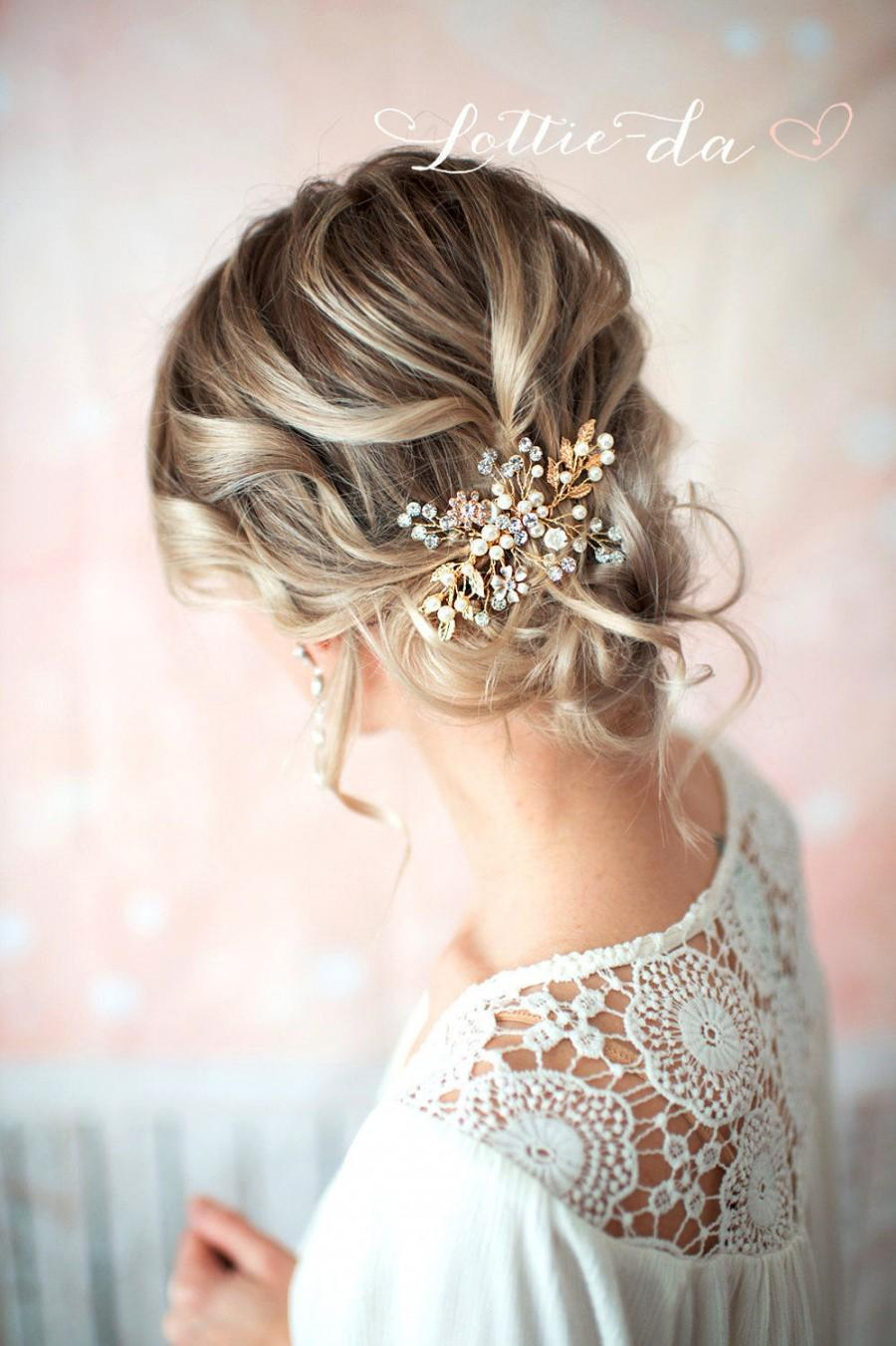 gold boho hair vine comb, bridal pearl flower hair comb, wedding