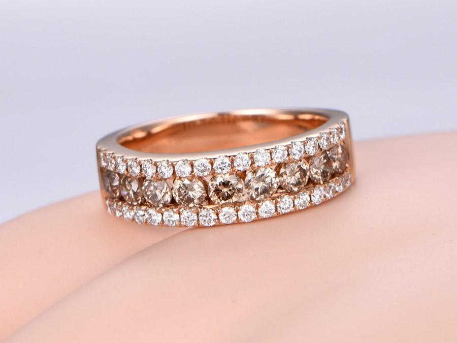 Champagne Diamond Band Wedding Solid 14k Rose Gold Eternity Ring Engagement Stacking Matching Anniversary Men S