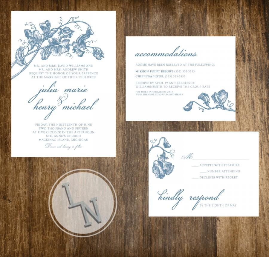 Clic Wedding Invitations Suite Printable Fl Botanical Ilration Vintage Customizable Sweet Pea Choose Your Color