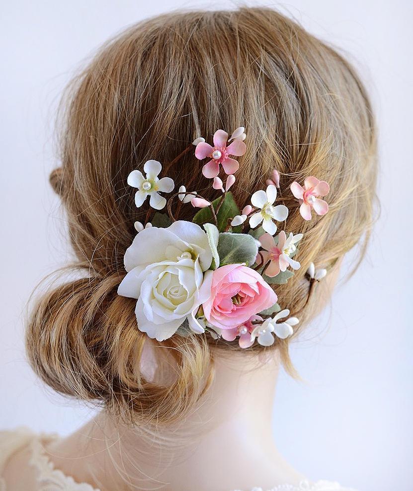 hair flower wedding, bridal hair piece, bridal hair clip, floral