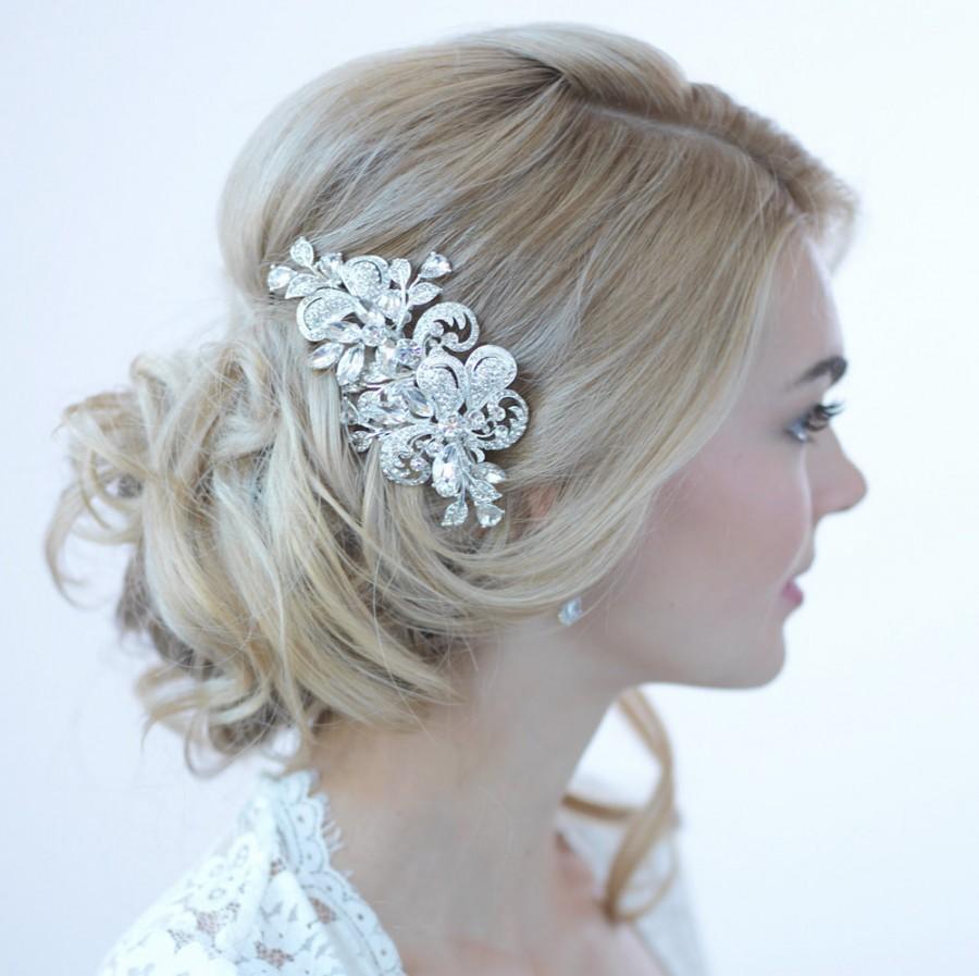 rhinestone bridal hair clip, wedding hair accessories, silver