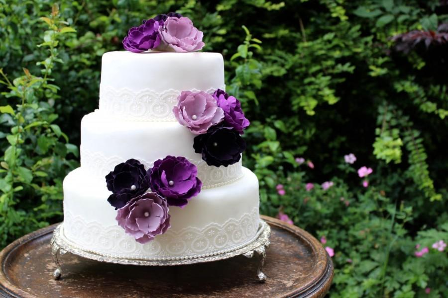 wedding cake with purple flowers purple flower wedding cake toppers forever flowers 26946