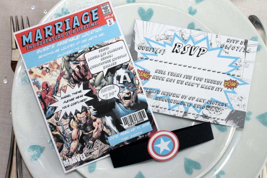 Vintage Marvel Dc Comic Book Wedding Invitation Set Sample