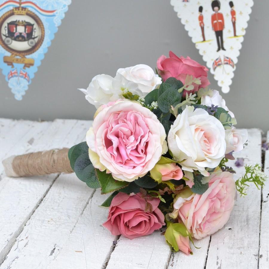 Silk Wedding Bouquet Artificial Rose Faux Flower Hand Tied
