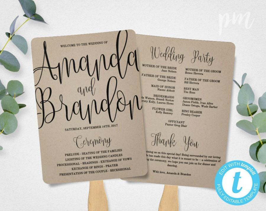Wedding Program Fan Template Calligraphy Script Printable Instant Diy Ceremony Kraft Paper