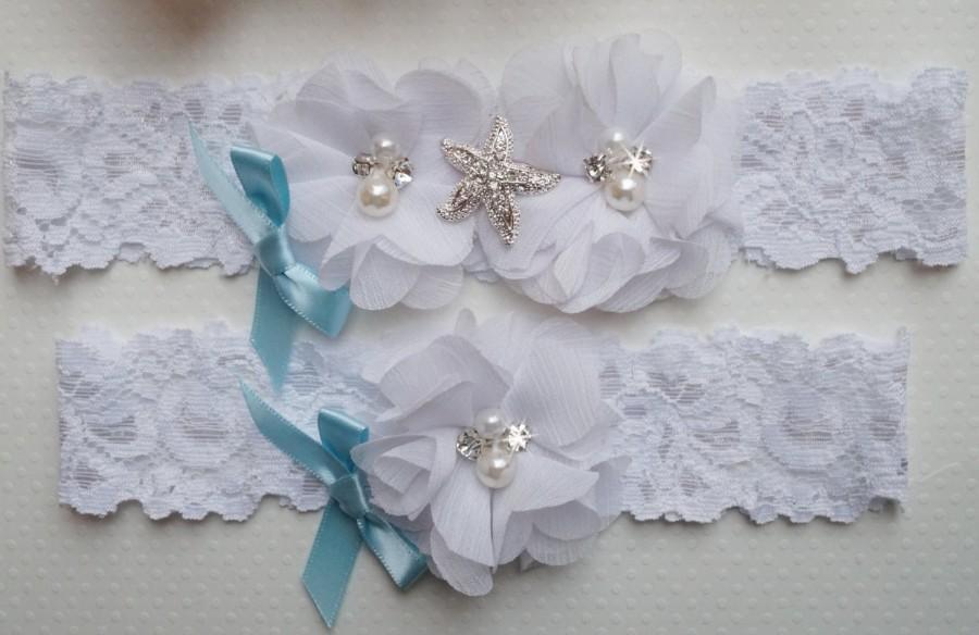Beach Wedding Garter C Set Starfish Theme