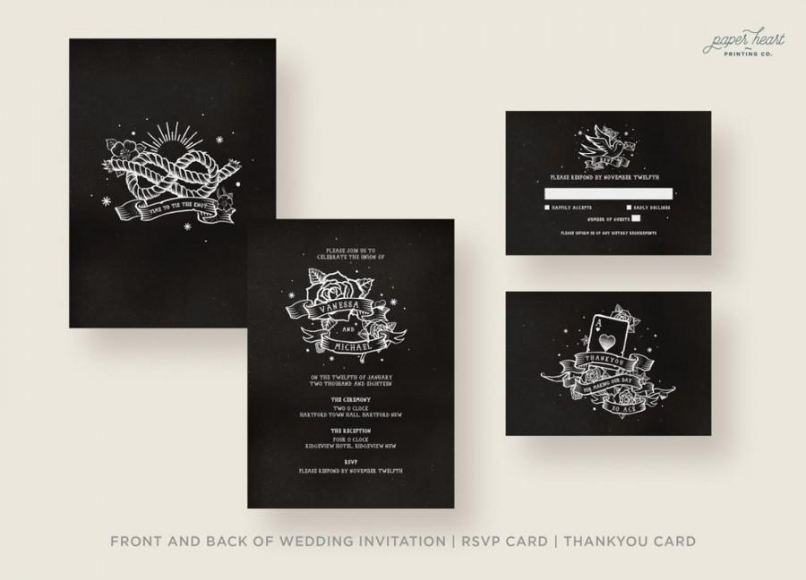Black Wedding Invitations Vintage And White Retro Tattoo Rockabilly Rock N Roll Customised Printable Pdf Digital File Only