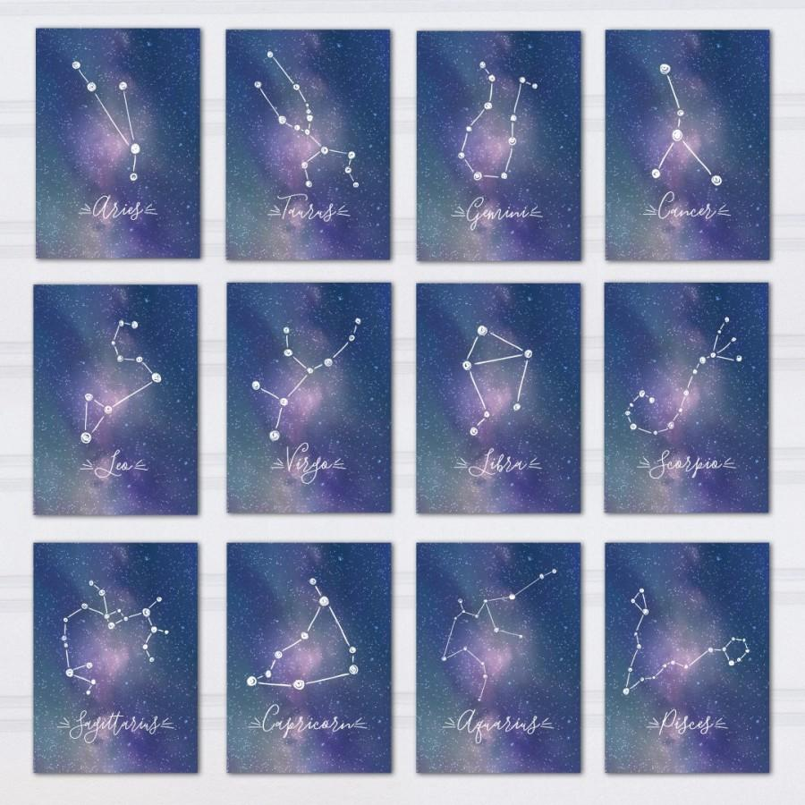 Constellation Table Numbers Printable Zodiac Wedding Decor Galaxy Themed Reception Under The Stars Outdoor