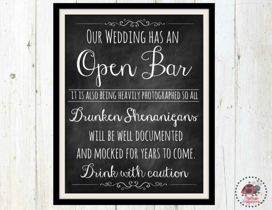 Chalkboard Wedding Signs Printable Open Bar Sign For Blackboard Rustic Decor Shenanigans