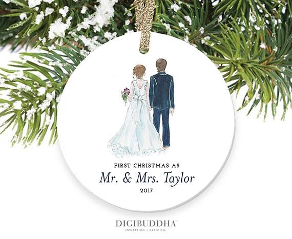 Bride Groom Ornament First Christmas As Mr And Mrs Newlyweds Married Newlywed Wedding