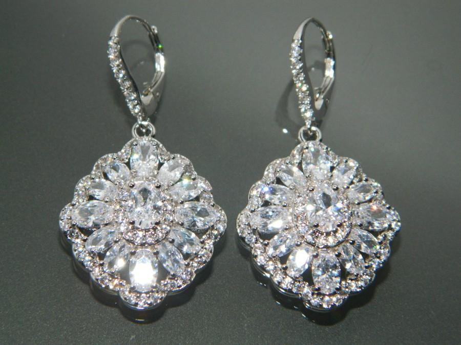 Bridal Cubic Zirconia Earrings Crystal Chandelier Large Cz Wedding Sparkly Halo Dangle Prom Jewelry 35 00 Usd