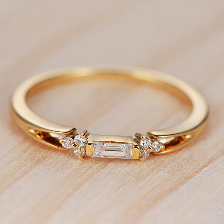 Baguette Diamond Engagement Ring Gold Wedding Band Stackable Antique Unique Women Rose Minimalist Anniversary Gift For Her Bridal Set