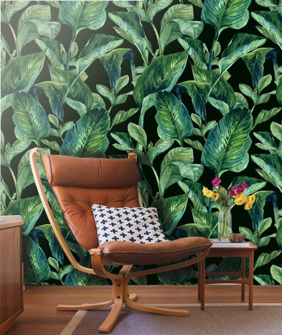 Tropical Leaves Wall Mural Self Adhesive Fabric Wallpaper Removable Repositionable Reusable Easy L Stick R0006