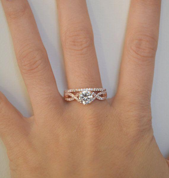 Twist Engagement Ring Setting Rose Gold Twisted Band Infinity Art Deco Promise 14k Wedding Set