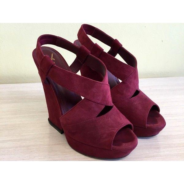 Ysl Burgundy Wedge Sandals 38