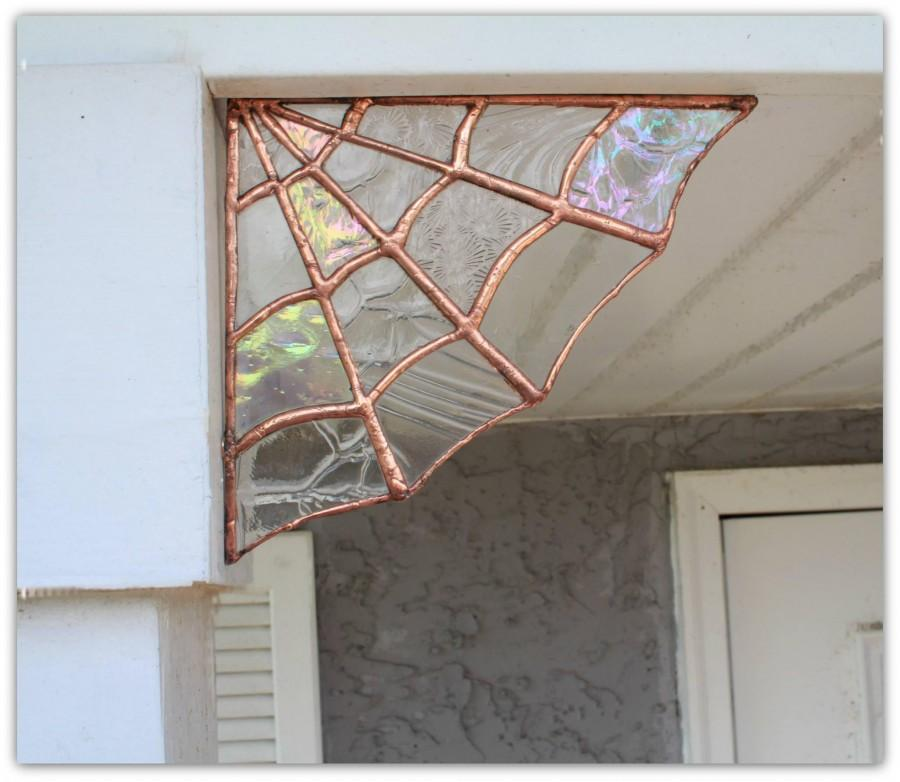 Copper Stained Gl Spider Web Wall Decor Garden Home Art Bohemian Boho